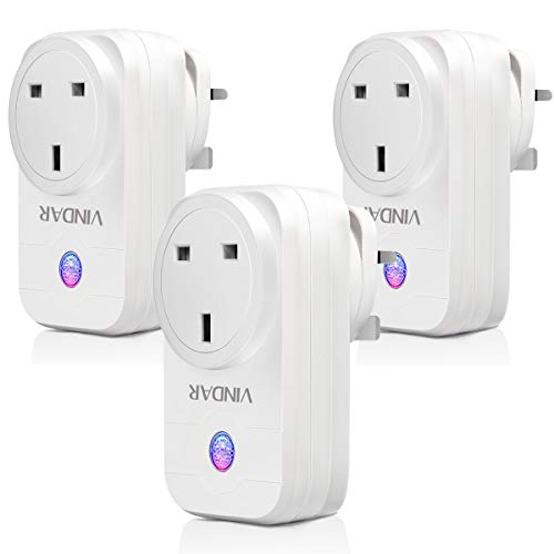 WiFi Smart Plug - Vindar 3 Packs Wi-fi Smart Socket & Wireless Plug Compatible with Alexa,Google Home and IFTTT; Timer Switch Power, Voice Control and Smart Remote Control by Smartphone from Anywhere