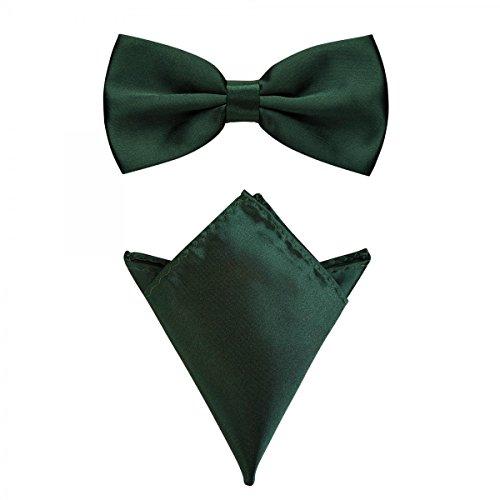 Rusty Bob - Fliege mit Einstecktuch in verschiedenen Farben (bis 48 cm Halsumfang) - zur Konfirmation, zum Anzug, zum Smoking - im 2er-Set - Dunkelgrün