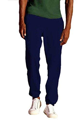Pantalone Tuta Cotone Uomo Con Fondo Stretto Fruit Of The Loom Pantaloni Felpati, Colore: Blu Navy, Taglia: S