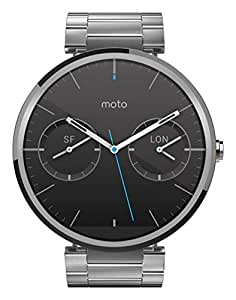 Motorola Moto 360 Smartwatch, Display 1.56 pollici, Memoria 4GB, RAM 512MB, Android Wear, 4 GB, cinturino in acciaio inossidabile, colore Argento (Light Metal)