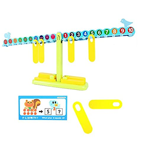 SainSmart Jr. T-Shaped Math Number Balance Scale, 20 10G Weights, with Learning Book, Learning Cards, Test Paper