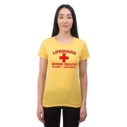 Sydney Kostüme (Damen Lifeguard Bondi Beach Sydney Australia Surfer Beach Kostüm T-Shirt Gelb)