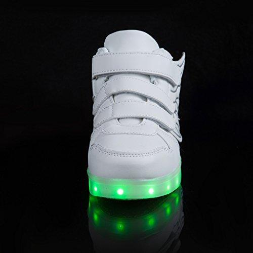 SAGUARO Kinder Jungen Mädchen Bunte LED leuchtet Sportschuhe Sneakers athletische Schuhe mit Flügel Weiß