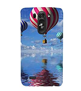 For LG G3 S :: LG G3 S Duos :: LG G3 Beat Dual :: LG D722K :: LG G3 Vigor :: LG D722 D725 D728 D724 air balloon, big balloon, river, blue sky background Designer Printed High Quality Smooth Matte Protective Mobile Case Back Pouch Cover by APEX