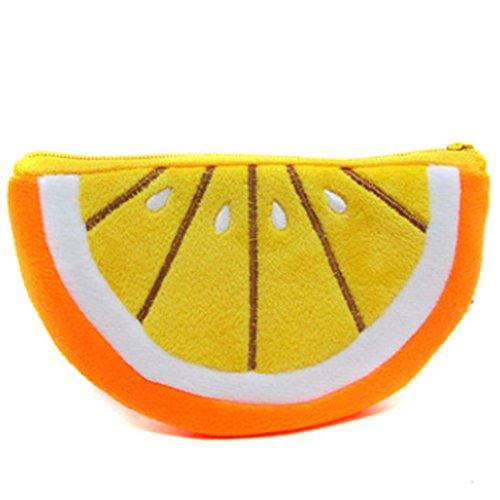 Sungpunet borsa a forma di moneta a forma di arancia bella borsa portafoglio portamatite peluche con cerniera grande sacchetto della penna per i bambini fornitura organizzatori 1 pezzo