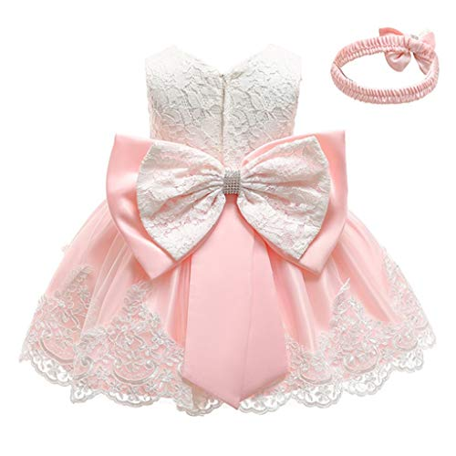 INLLADDY Baby Mädchen Prinzessin Kleid 2tlg Set Bowknot Spitze Taufkleid Festlich Kleid Hochzeit Party Festzug Taufe Tutu Kleid 0-3 Jahre Beige (Dass 70er Jahre Mädchen Kostüm)