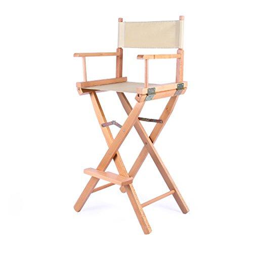 WEN PING Massivholz Klappstuhl Hohe Fuß Make-Up Stuhl Hohe Fuß Regie Stuhl Bar Bar Stuhl Tragbare Stuhl Klapp Leinwand Stuhl (Color : Beige) -