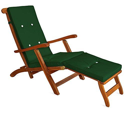 Detex Auflage für Liege Deckchair Liegestuhl Liegenauflage Sonnenliege Polster Farbauswahl ✓ Leinenoptik ✓ mit 8 Knöpfen ✓ Grün