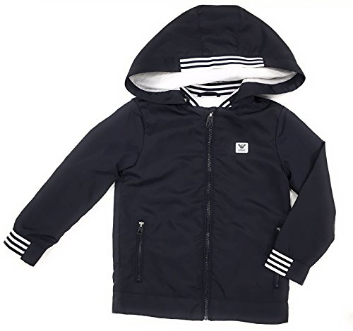 ARMANI JUNIOR Abnehmbare Kapuze Logo Windjacke Navy Age 12 - Armani Junior