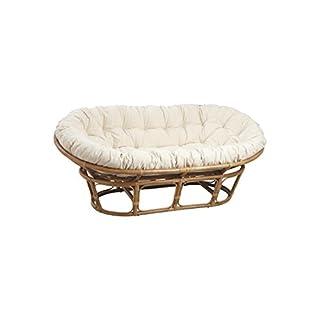 Aubry Gaspard Rattan Papasan Chair with Cushion Cream 2Seater Sofa 169x100cm