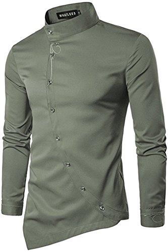 Whatlees Herren Urban Basic Lang Geschnittenes Hemd mit Asymmetrisches und aufgesticktes Design Stehkragen B404-Gray-M (Kimono-hemd)
