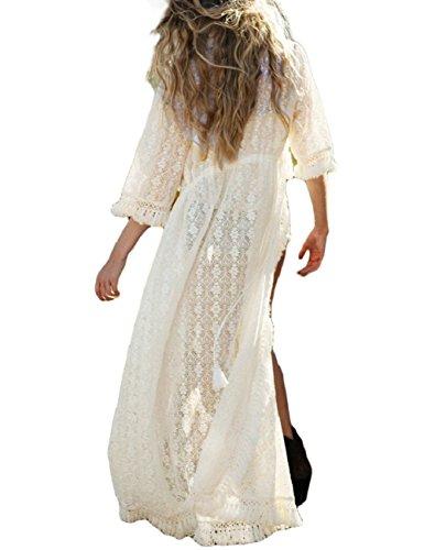 Bsubseach Mujer Traje Bañpo Encaje Borla Blanca Kimono