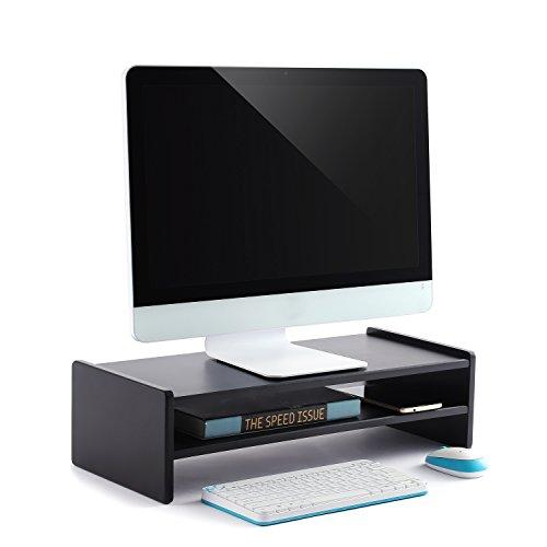 RFIVER Computer Monitor Podest Monitorständer Notebookständer Laptopständer Computertisch 55x23.8x15 cm Schwarz CM1004