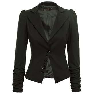 Froncé manches longues Blazer d'affaires décontractée Dames Femme - Noir - Taille 36