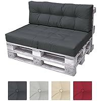 Beautissu Cuscino spalliera per divano in pallet ECO Elements 120x40x10-20cm - per divani con bancali di legno - grigio