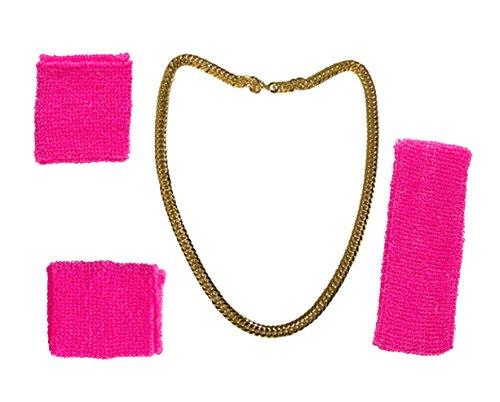 ila ASSI Jogging Kleidung neon Set 80er Jahre- Goldkette Goldkettchen Kette gold mit Schweißband Schweißarmband pink für Fasching Karneval Kleidung Kostüm (Schweißband + Goldkette) (80 Schmuck)