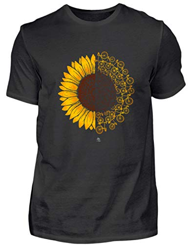 Sonnenblume Fahrrad Sunflower Bicycle Bike Rad Fahren ebike MTB Mountainbike Geschenk - Herren Shirt -XXL-Schwarz