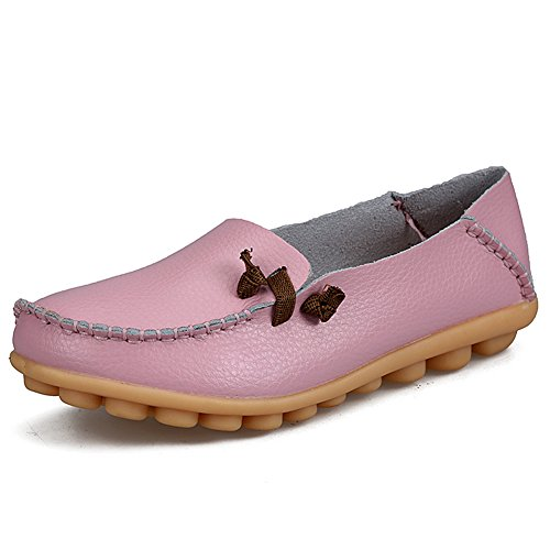 Gaatpot Cuir Loafers Décontracté Mocassins Antidérapant Bateau Chaussures Confort Conduite Chaussures Pour Femme,Taille 34-44 rose1
