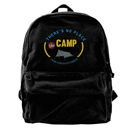 Husimy Rucksäcke,Schultaschen,Canvas Backpack Shoulder There's No Place Like Camp I Wish I Could Stay Foreyer -