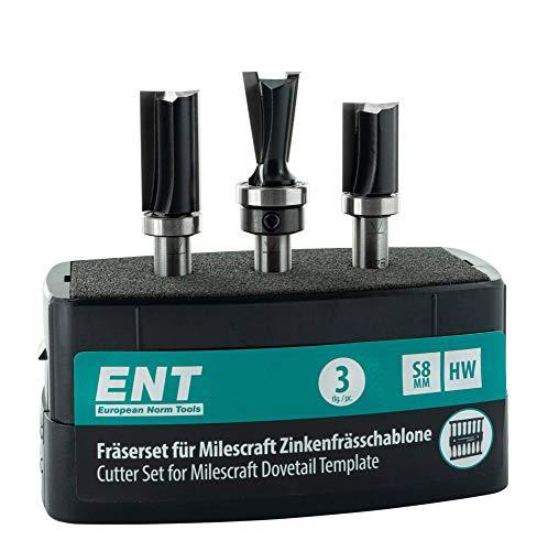 ENT 09049 3-tlg. Fräser-Set für Zinkenschablonen wie Milescraft, HW (HM), Schaft (S) 8 mm, ideal für stabile Schwalbenschwanz- und Zinkenverbindungen.
