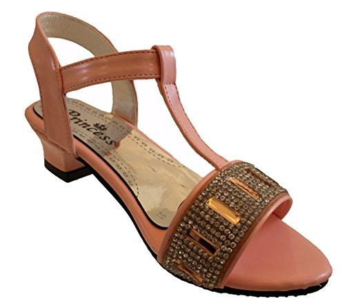 Fille Velcro lanière en T Parti De Paillettes Sandales Mariage Communion Fille aux fleurs Chaussures Argent