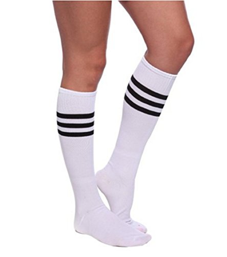 Qissy®Damen Maedchen Fussball Stutzen SportSocken Sport Socken Strumpf Fussballstutzen (One size, Weiss-Schwarz)
