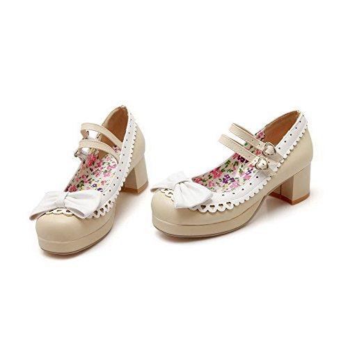 AllhqFashion Damen Mittler Absatz Schnalle Weiches Material Rund Zehe Pumps Schuhe Cremefarben