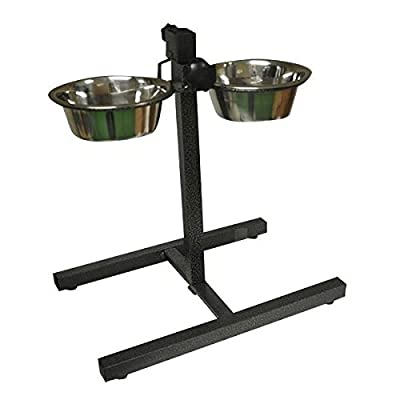 Stainless Steel Double Pet Dog Bowls Adjustable Height Stand Feeding Station from S&S