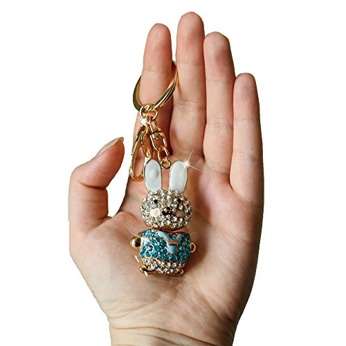 Oro Colore Blu Strass Coniglio portachiavi con ciondolo borsetta portachiavi regalo, nuova