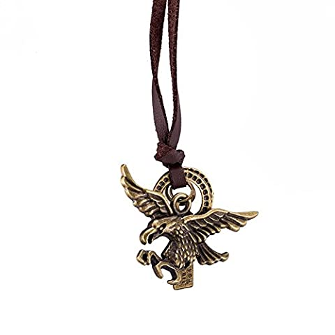 Long Brown Leather Rope Chain Retro Eagle Pendant Women Men Jewelry Sweater Choker Collar Necklace for Valentine's Day
