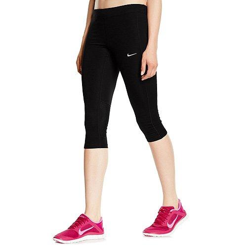 Nike Damen Dry Fit Essential 3/4 Caprihose, Black/Reflective Silv, L, 645603-010