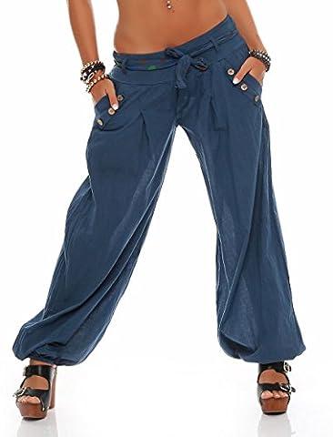 malito Pumphose mit Gürtel Haremshose Uni-Farben 3417 Damen One Size (jeansblau)