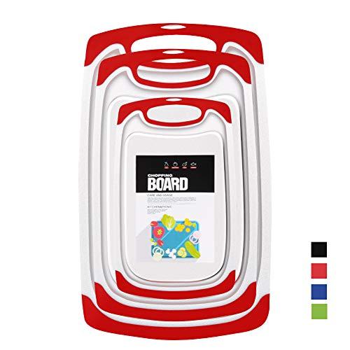 Planches à Découper en Plastique,Plastique sans BPA de Cuisine Planches à découper Rainure de Jus, Antimicrobienne Résistante à la Chaleur et Non-Toxique (Set de 3) (Rouge)