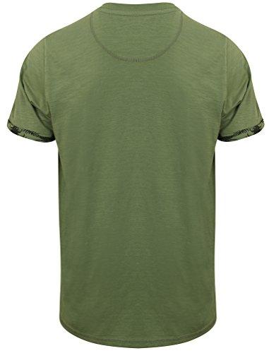 Tokyo Laundry Herren Akoni Rundhals Kurzärmlig Beiläufig Regulär T-Shirt Größe S-XL Khaki Grün
