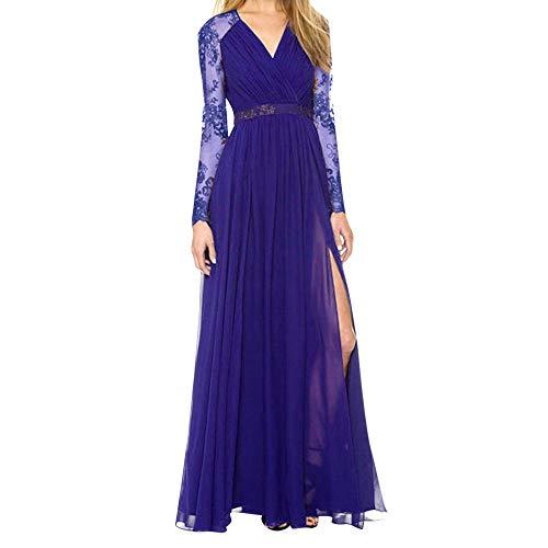 ❤Loveso❤ Damen Elegante Abendkleid Bekleidung Spitze Kleider V-Ausschnitt Cocktailkleid Kleider Maxikleid