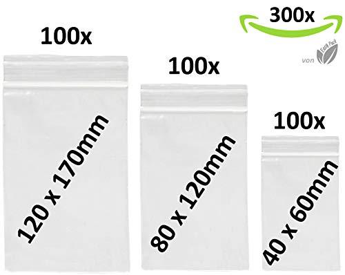 300 x Druckverschlußbeutel Set | Zip Verschlussbeutel | Zip Lock Bags | Gleitverschlussbeutel 50 mµ | Polybeutel | Hergestellt in Deutschland | Beutel Set mit 3 Grössen von Easy Pack