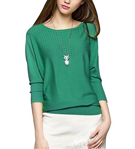 Brinny Femme nouvelle printemps pull style europeen ciselé manches chauve souris col ronde en coton Vert