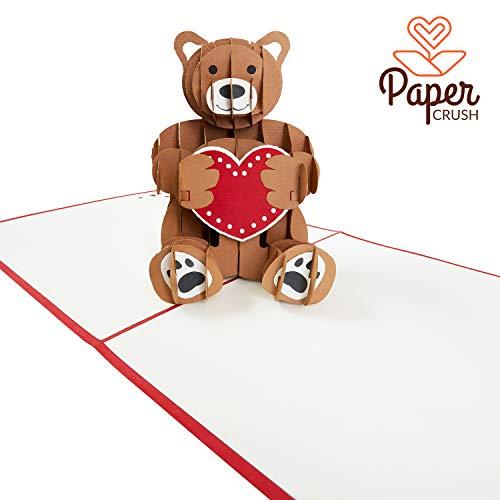 PaperCrush® Pop-Up Valentinskarte Teddy mit Herz - Handgemachte 3D Karte mit Teddybär für diverse Anlässe (Valentinstagskarte, Geburtstagskarte für Kinder oder Freundin)