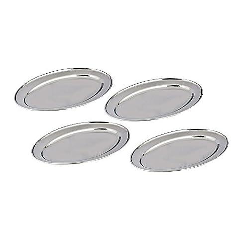 Satz mit 4 Edelstahl Serviertablett von kosma - ovales Serviertablett - Reis Platte in Größe 25 cm | Hochglanzpoliert ovale (Runde Gemüse Servierplatte)