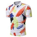 ASHOP Herren Poloshirt, Druck-Design-Halbe Cardigans Slim Fit Casual T-Shirt (XXL, Multicolor)