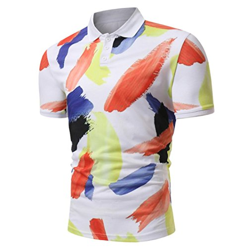 ASHOP Herren Poloshirt, Druck-Design-halbe Cardigans Slim Fit Casual T-Shirt (XXXL, Multicolor)