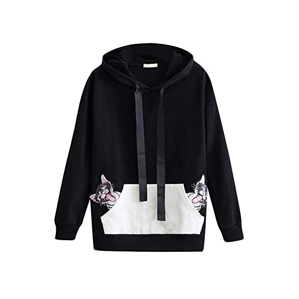 LILICAT Womens Cute Cat Ears Hoodies Jumper Tunic Sweatshirts Drawstring Hoodies Pullover With Kangaroo Pockets