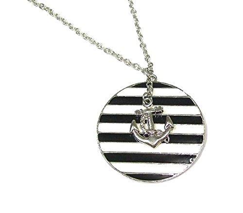 Schwarz Weiß Vintage Stil Sailor Anker Halskette Anhänger Schmuck