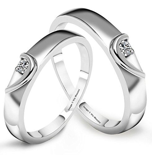 Via Mazzini Platinum Plated Stainless Steel Love Birds Crystal Couple Rings For Men And Women (Ring0247)