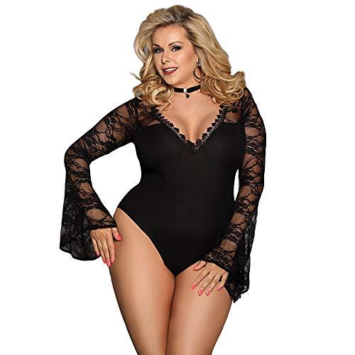 Sexy durchbrochene Spitzenstrumpfhosen Netzbekleidung Pyjamas Frauen siamesische Unterwäsche Nachtwäsche Nachtwäsche Dessous (Color : Black, Size : XL)