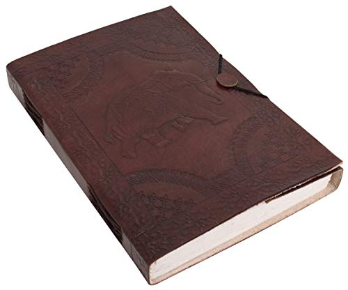 Notizbuch Gusti Leder ''Nele'' DIN B5 Echtes Leder | Handgeschöpftes Papier | Nachfüllbare Seiten | Recyclebar | Traditionelles Lederaccessoire Blanko - Motiv - Elefant - P26
