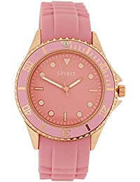 Spirit Ladies Pink Dial Rose Gold Tone Metal Case Pink Rubber Strap Watch ASPL67