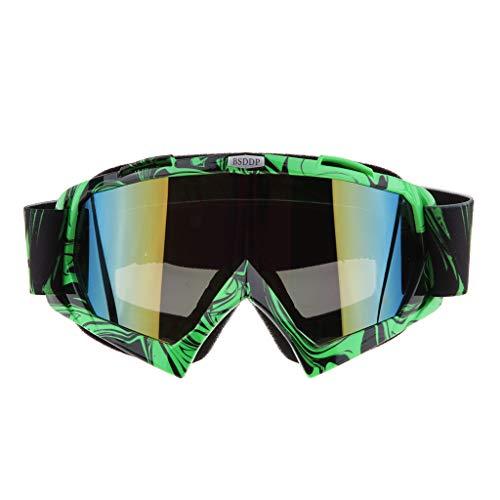 perfeclan Vintage Motorradbrillen Schutzbrille Windproof-Objektiv / UV400 Motorradbrille - Grüne Farbe