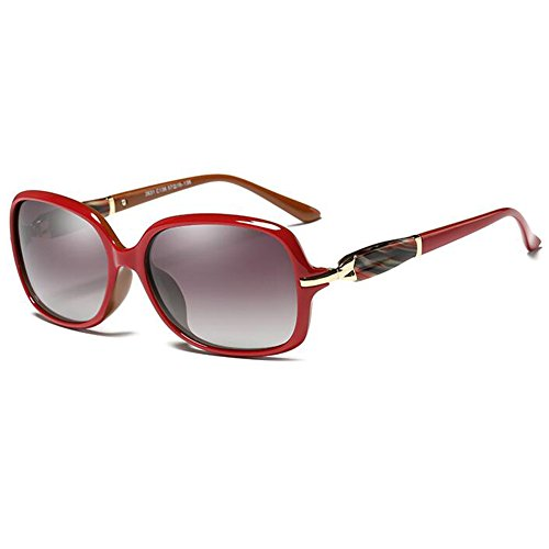 Moolo Sonnenbrille Sonnenbrille polarisierte Europa und Amerika-Harz-UV400 kleines rundes Gesicht im Freien Tourismus-Elegantes Retro- Gesicht, das Sonnenbrille fährt (Farbe : Red Progressive red)