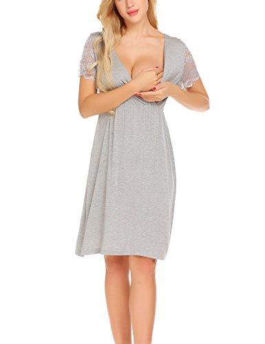 Unibelle Damen Umstandskleid Spitzenkleid Schwangerschafts Kleid V-Ausschnitt Mit Kurzarm Blume grau